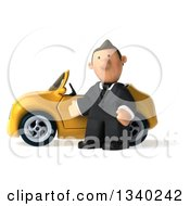 Clipart Of A 3d Short Caucasian Businessman Pouting And Presenting By A Yellow Convertible Car Royalty Free Illustration