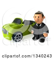 Clipart Of A 3d Short Caucasian Businessman Pouting By A Green Convertible Car Royalty Free Illustration