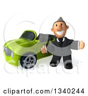 Clipart Of A 3d Short Caucasian Businessman Welcoming By A Green Convertible Car Royalty Free Illustration