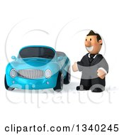 Clipart Of A 3d Short Caucasian Businessman Presenting A Blue Convertible Car Royalty Free Illustration