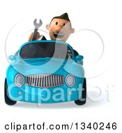 Clipart Of A 3d Short Caucasian Businessman Waving With A Wrench And Driving A Blue Convertible Car Royalty Free Illustration