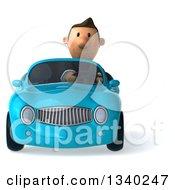 Clipart Of A 3d Short Caucasian Businessman Driving A Blue Convertible Car 2 Royalty Free Illustration