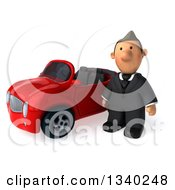 Clipart Of A 3d Short Caucasian Businessman Pouting By A Red Convertible Car Royalty Free Illustration
