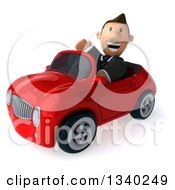 Clipart Of A 3d Short Caucasian Businessman Driving A Red Convertible Car And Waving Royalty Free Illustration