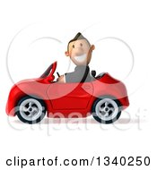 Clipart Of A 3d Short Caucasian Businessman Driving A Red Convertible Car 4 Royalty Free Illustration