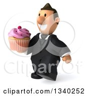 Clipart Of A 3D Happy Short White Businessman Walking Slightly Left And Holding A Pink Frosted Cupcake Royalty Free Illustration
