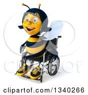 Clipart Of A 3d Happy Handicap Female Bee Sitting In A Wheelchair Facing Slightly Left Royalty Free Illustration