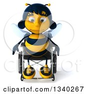 Clipart Of A 3d Handicap Female Bee Pouting In A Wheelchair Royalty Free Illustration