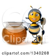 Clipart Of A 3d Female Bee Holding A Dipper By A Giant Honey Jar Royalty Free Illustration