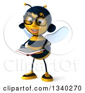 Clipart Of A 3d Bespectacled Female Bee Reading A Book Royalty Free Illustration