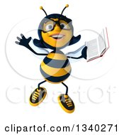 Clipart Of A 3d Bespectacled Female Bee Jumping And Holding A Book Royalty Free Illustration