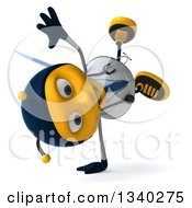 Clipart Of A 3d Happy Bee Doctor Facing Right And Cartwheeling Royalty Free Illustration by Julos
