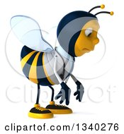 Clipart Of A 3d Happy Bee Doctor Facing Right And Pouting Royalty Free Illustration by Julos