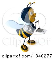 Clipart Of A 3d Happy Bee Doctor Holding A Laptop Computer And Facing Right Royalty Free Illustration by Julos
