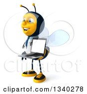 Clipart Of A 3d Happy Bee Doctor Holding A Laptop Computer And Facing Left Royalty Free Illustration by Julos