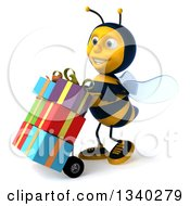 Clipart Of A 3d Happy Male Bee Facing Left And Pushing Gifts On A Dolly Royalty Free Illustration