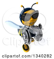 Clipart Of A 3d Business Bee Wearing Sunglasses Working Out Looking Up And Doing Bicep Curls With Dumbbells Royalty Free Illustration by Julos