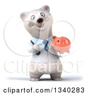 Clipart Of A 3d Happy Polar Bear Doctor Or Veterinarian Holding And Pointing To A Piggy Bank Royalty Free Illustration