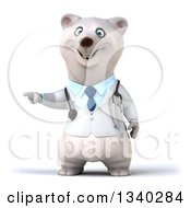 Clipart Of A 3d Happy Polar Bear Doctor Or Veterinarian Presenting Royalty Free Illustration by Julos