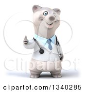 Clipart Of A 3d Happy Polar Bear Doctor Or Veterinarian Giving A Thumb Up Royalty Free Illustration