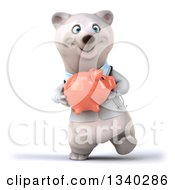 Clipart Of A 3d Happy Polar Bear Doctor Or Veterinarian Holding A Piggy Bank And Walking Royalty Free Illustration