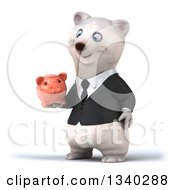 Clipart Of A 3d Business Polar Bear Facing Slightly Left And Holding A Piggy Bank Royalty Free Illustration