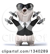 Clipart Of A 3d Happy Business Polar Bear Wearing Sunglasses Working Out Doing Shoulder Presses With Dumbbells Royalty Free Illustration by Julos