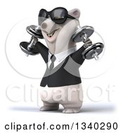 Clipart Of A 3d Happy Business Polar Bear Wearing Sunglasses Working Out Facing Left Doing Shoulder Presses With Dumbbells Royalty Free Illustration by Julos