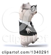 Clipart Of A 3d Bespectacled Business Polar Bear Walking To The Right Royalty Free Illustration