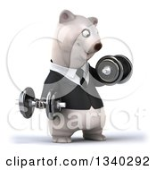 Clipart Of A 3d Happy Business Polar Bear Working Out Facing Right Doing Bicep Curls With Dumbbells Royalty Free Illustration by Julos