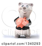 Clipart Of A 3d Business Polar Bear Holding A Piggy Bank 2 Royalty Free Illustration by Julos