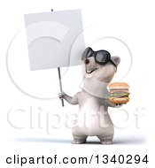 Clipart Of A 3d Happy Polar Bear Wearing Sunglasses Holding A Double Cheeseburger And Looking Up At A Blank Sign Royalty Free Illustration