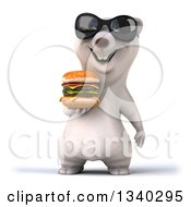 Clipart Of A 3d Happy Polar Bear Wearing Sunglasses And Holding A Double Cheeseburger Royalty Free Illustration