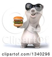 Clipart Of A 3d Happy Polar Bear Wearing Sunglasses Holding And Pointing To A Double Cheeseburger Royalty Free Illustration