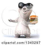 Clipart Of A 3d Happy Polar Bear Wearing Sunglasses Presenting And Holding A Double Cheeseburger Royalty Free Illustration