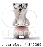 Clipart Of A 3d Happy Bespectacled Polar Bear Holding An Open Book Royalty Free Illustration