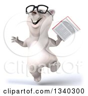 Clipart Of A 3d Happy Bespectacled Polar Bear Jumping And Holding A Book Royalty Free Illustration