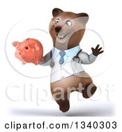 Clipart Of A 3d Happy Bespectacled Brown Bear Doctor Or Veterinarian Jumping And Holding A Piggy Bank Royalty Free Illustration