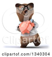 Clipart Of A 3d Happy Bespectacled Brown Bear Doctor Or Veterinarian Walking And Holding A Piggy Bank Royalty Free Illustration