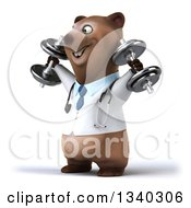 Clipart Of A 3d Happy Brown Bear Doctor Or Veterinarian Working Out Facing Left Doing Shoulder Presses With Dumbbells Royalty Free Illustration