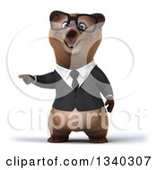 Clipart Of A 3d Bespectacled Happy Brown Business Bear Pointing To The Left Royalty Free Illustration