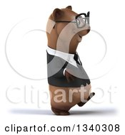 Clipart Of A 3d Bespectacled Happy Brown Business Bear Walking To The Right Royalty Free Illustration