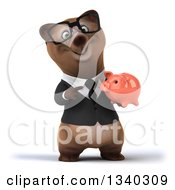 Clipart Of A 3d Happy Bespectacled Brown Business Bear Holding And Pointing To A Pink Piggy Bank Royalty Free Illustration