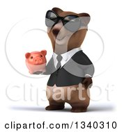 Clipart Of A 3d Happy Brown Business Bear Wearing Sunglasses Facing Slightly Right And Holding A Piggy Bank Royalty Free Illustration