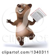 Clipart Of A 3d Happy Brown Bear Jumping And Holding A Book Royalty Free Illustration