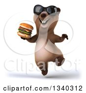 Clipart Of A 3d Happy Brown Bear Wearing Sunglasses Jumping And Holding A Double Cheeseburger Royalty Free Illustration