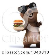 Clipart Of A 3d Full Length Happy Brown Bear Wearing Sunglasses And Holding A Double Cheeseburger Around A Sign Royalty Free Illustration