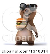 Clipart Of A 3d Happy Brown Bear Wearing Sunglasses And Holding A Double Cheeseburger Royalty Free Illustration