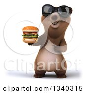 Clipart Of A 3d Happy Brown Bear Wearing Sunglasses Holding And Pointing To A Double Cheeseburger Royalty Free Illustration