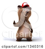Clipart Of A 3d Happy Brown Bear Wearing A Baseball Cap And Giving A Thumb Up Royalty Free Illustration